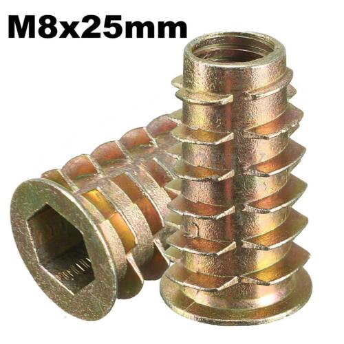 M4//5//6//8//10 Type D W// Flange Hex Drive Screw In Threaded Insert Nuts For  wood
