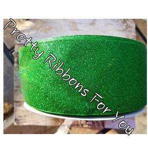 "Green Glitter 3/"" Gros-Grain Ruban l/'annonce est pour 2 Yd environ 1.83 m"