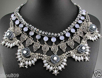 perfect New Design Lady Statement silver crystal multi chunky charm necklace