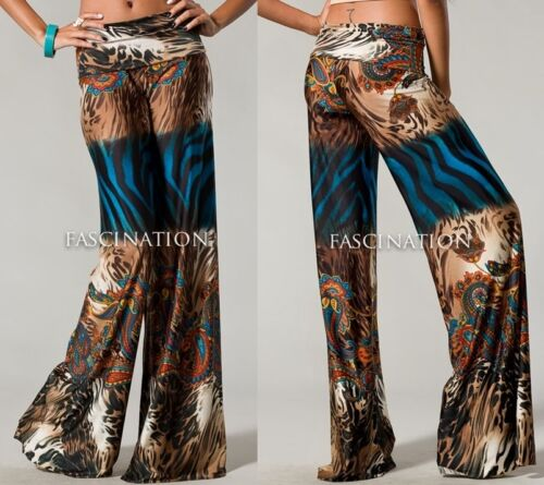 "FOLDOVER /""RAINFOREST/"" LEOPARD PAISLEY ANIMAL WIDE PALAZZO PANTS YOGA S M L USA"