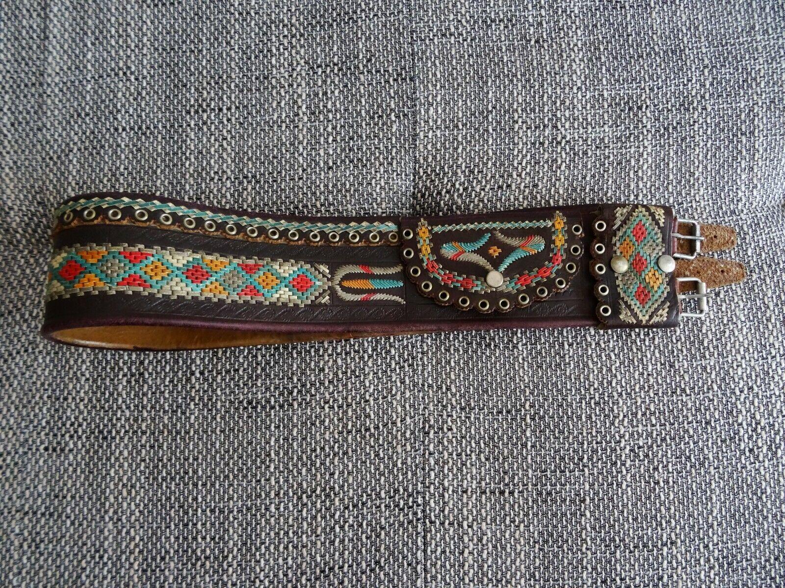 Alter Ranzen Trachtengürtel Damen mit Geldtasche Leder mit Dekor 97 cm länge