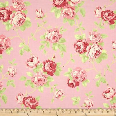 FreeSpirit Tanya Whelan Lulu Roses LILY Cotton Fabric-White-£10.00 Mtr-Free P/&P