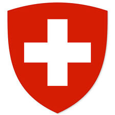 "Swiss Coat of Arms Flag car bumper sticker 5"" x 4"""