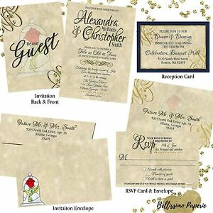 Details About Beauty And The Beast Wedding Invitation Set Custom RSVP Envelope Personalized