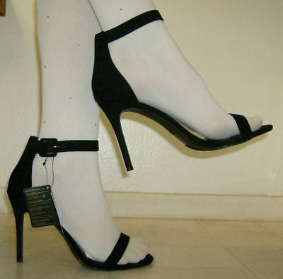 size 12 Wide Black Suede Strappy Shoes