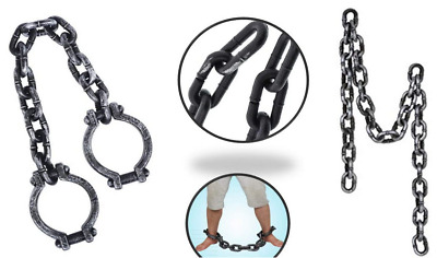 Prisoner Costume Fake Chain Plastic Handcuffs Shackles Halloween Chains