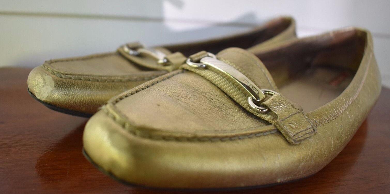 PRADA Gold Driving Scarpe / Loafers Taglia 38 US / US 38 Taglia 8 Used Donna d0cbac