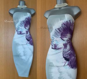 KAREN-MILLEN-UK-14-Grey-Floral-Print-Stretch-Satin-Strapless-Race-Pencil-Dress
