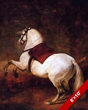 THE WHITE HORSE OIL PAINTING ART REAL CANVAS GICLEEPRINT