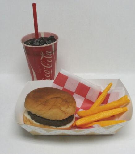 FAKE FOOD DINER CAR HOPBURGER FRIES W// 70/'S COKE CUP BASKET FREE SHIP