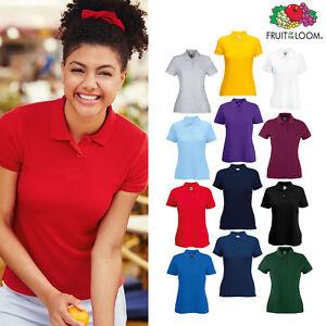 Fruit-of-the-Loom-Women-039-s-65-35-Pique-Polo-Shirt-Top-Sport-Plain-Casual-8-18