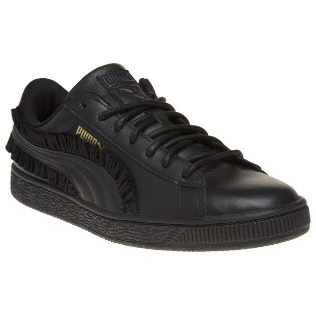 New Femme Puma noir Basket Classic Frill Leather Trainers Court Lace Up