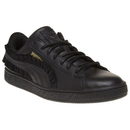 con Womens New Puma Black in pelle Basket volant Classico z60dq6