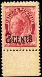 Canada-87-mint-F-VF-OG-NH-1899-Queen-Victoria-2c-3c-carmine-Maple-Leaf-CV-55-00