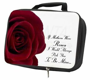 'if Mothers Were Roses' Sentiment Black Insulated School Lunch Box Bag, Mum-1lbb