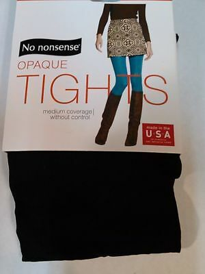 NWT Womens No Nonsense Opaque Sheer to Waist Footed Tights Black Brown 2 pk Med