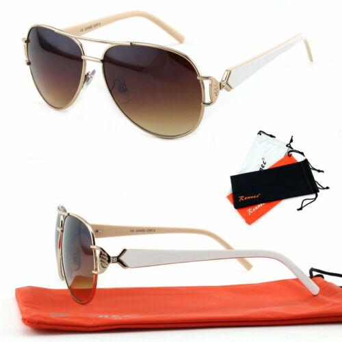 Señora gafas de sol gafas de piloto más ancho perchas pedrería oro marrón blanco 80er b4 a