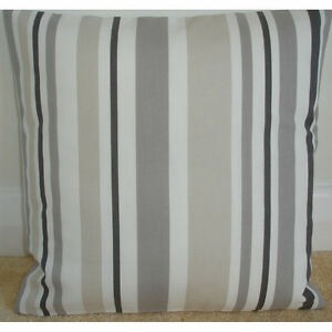New 24 cushion cover stripes grey beige cream taupe brown stripe striped ebay - Beige slaapkamer taupe ...