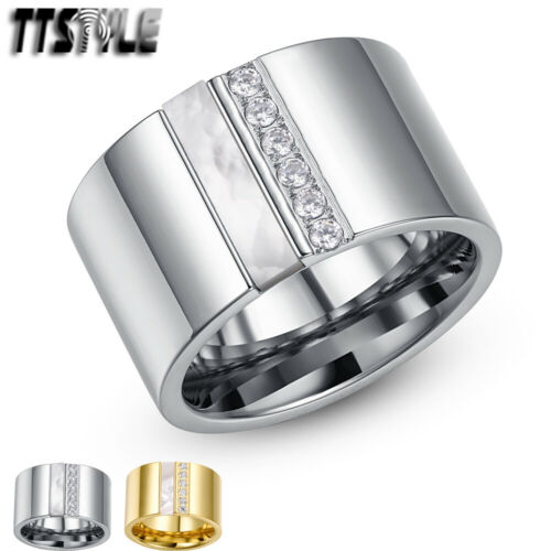 TTstyle 14mm Width Gold//Silver Stainless Steel Mother Pearl THICK Band Ring NEW