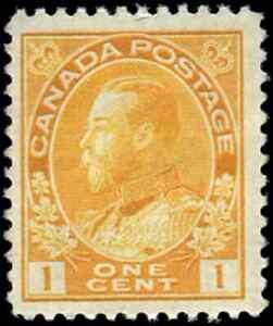 Canada-105f-mint-F-VF-OG-NH-1922-King-George-V-1c-yellow-Admiral-Die-I-Dry
