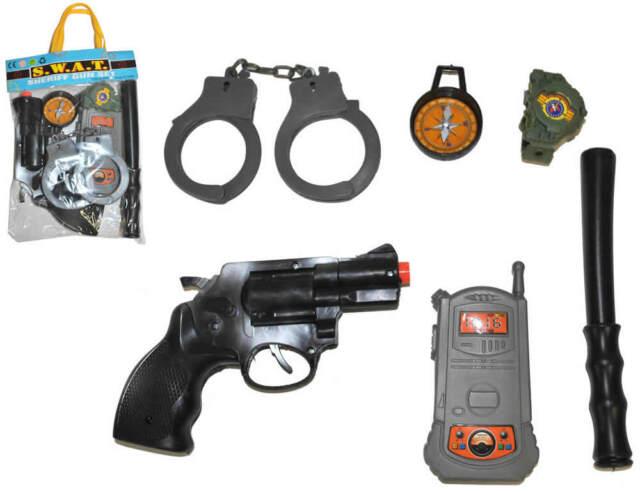 Polizeiset 6tlg Handschellen Pistole Kompass Funkgerät Schlagstock Uhr