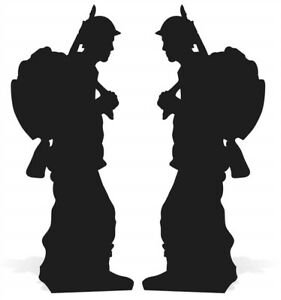 wartime soldier silhouette double pack lifesize cardboard cutout
