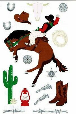 Sticko scrapbooking stickers of cowboy gear 6.5 x 4