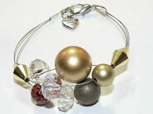 MODESCHMUCK-dreireihiger-ARMREIF-ARMBAND-GLASSCHMUCK-GOLD-KLAR-BRAUN-323a