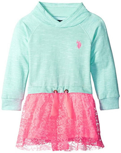 US Polo Assn Toddler//Little Girls Mint French Terry Lace Dress 2T 3T 4T 4 5 6 6X