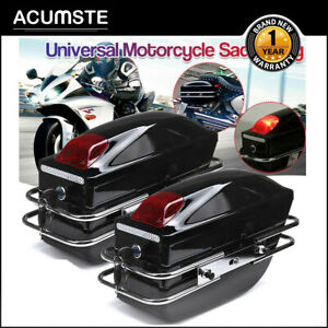 Hard-Saddle-Bags-Trunk-Luggage-Motorcycle-w-Lights-For-Honda-harley-Cruiser