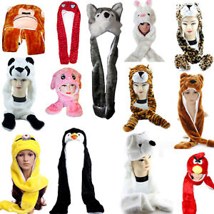 265c2b5baee NEW KIDS LADIES LONG ANIMAL HATS HOOD SCARF FLEECE LINED POCKET ...