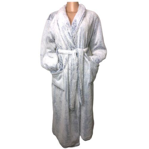 Soma Reversible Light Blue Navy Plush Robe Tie Clo