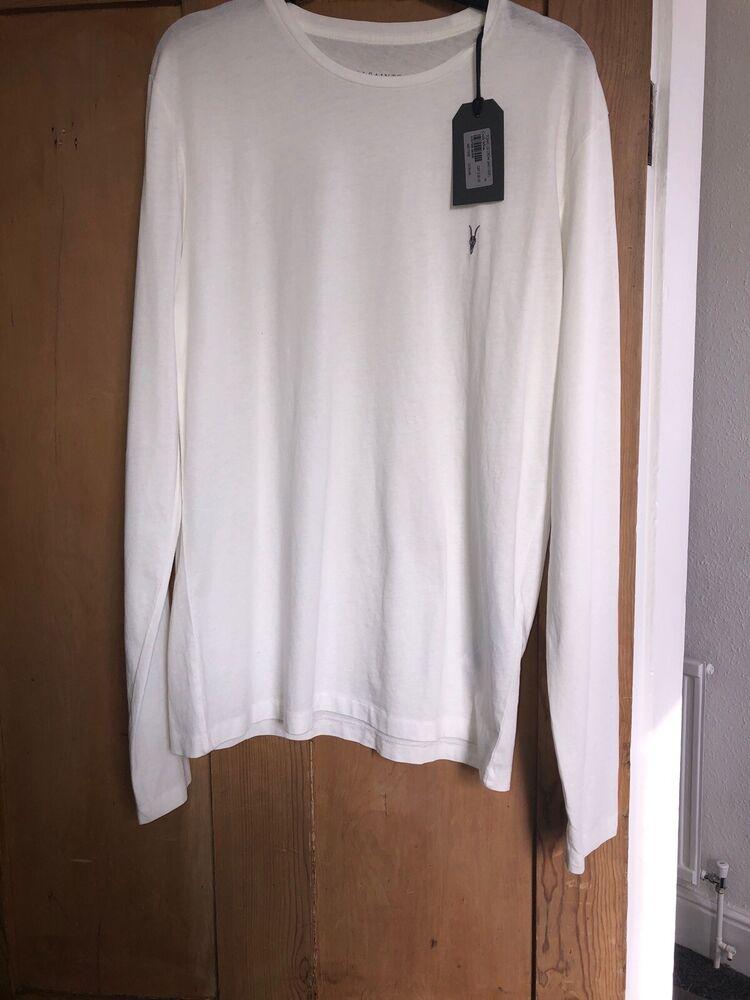 All Saints Homme Blanc Craie à Manches Longues Ras-du-medium Neuf Avec étiquettes