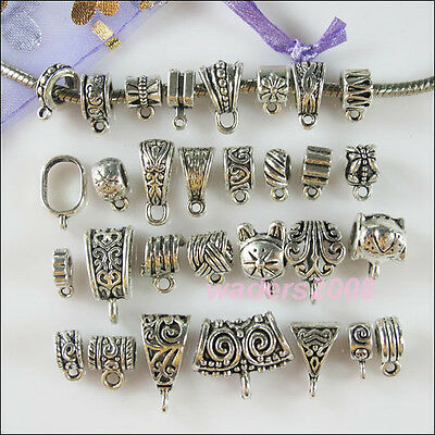 30Pc Mixed Bail Tibetan Silver Connector Charms European Bail Beads Fit Bracelet