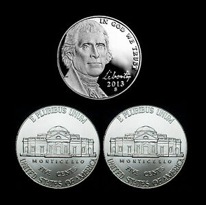 2013-P-D-S-Jefferson-Nickel-Mint-Proof-Set-PD-from-Bank-Rolls-Set-of-3-Coins
