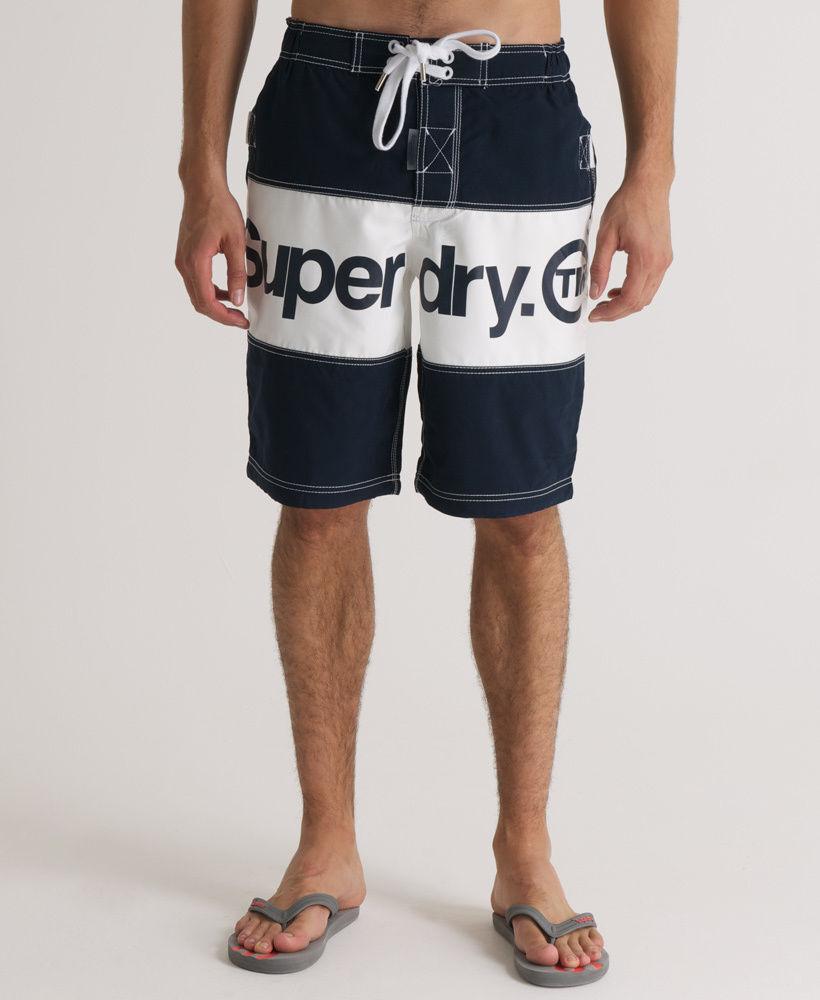 NEW  SUPERDRY SMALL 30  WAIST SUPER BI PANEL BOARD SHORTS NAVY & WHITE