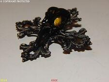 NEW steampunk brooch badge pin gothic cross black bird skull plague mask
