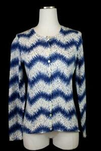 womens-blue-white-chevron-print-J-MCLAUGHLIN-cardigan-sweater-casual-cotton-XS