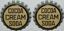 Soda pop bottle caps COCOA CREAM SODA Lot of 2 cork lined unused new old stock