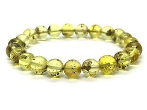 Natural-BALTIC-AMBER-BRACELET-Round-Beads-Elastic-Ladies-Jewelry-7-2g-12722