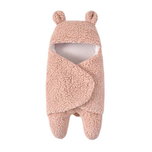Babydecke Einschlagdecke Fleece Kapuze Babyschale Schlafsack Winter Warm Swaddle