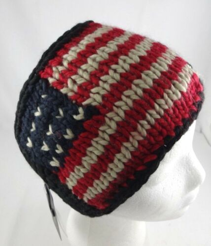 Head Wrap USA Flag Ear Warmer Red White Blue Acrylic Knit Button DY