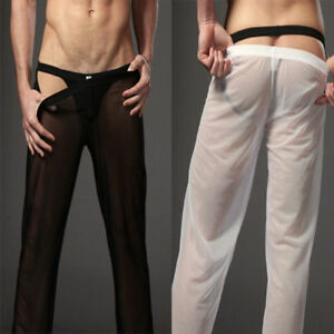 Mens Mesh See-through Lingerie Underwear Plain Long Lounge Pants Trousers Bottom