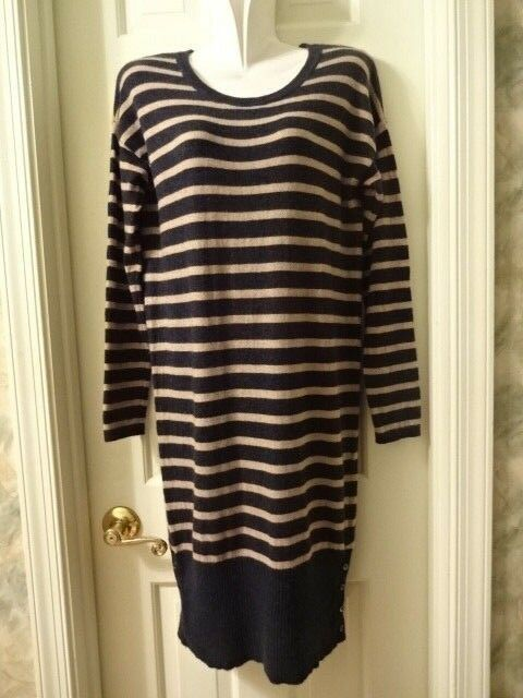 Joie Striped Wool Cashmere Long Sweater Navy bluee with Tan Stripes Dress Sz M