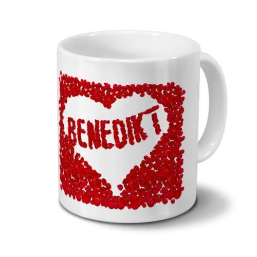 Rosenherz Tasse mit Namen Benedikt