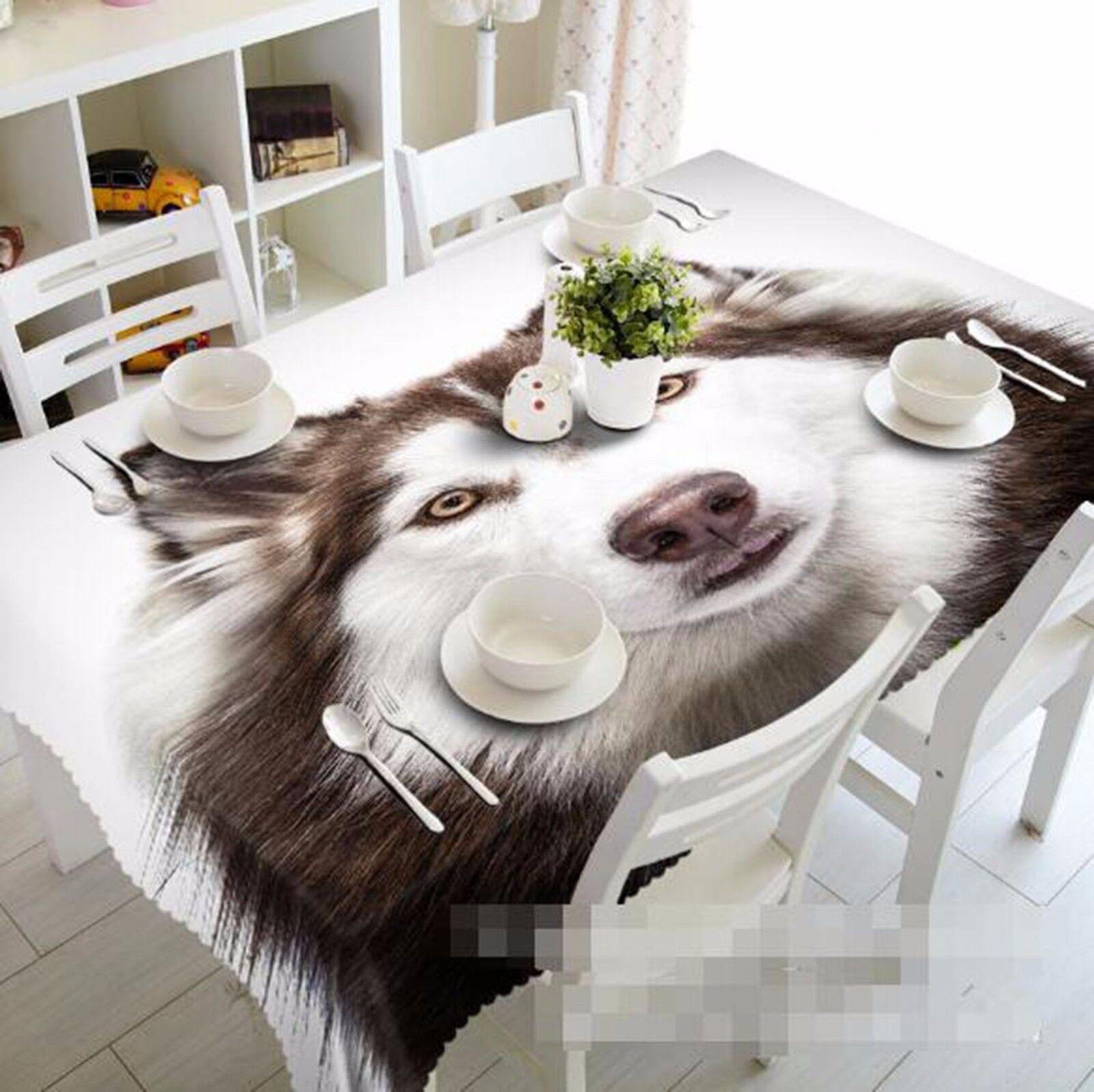 3D Husky Tablecloth Table Cover Cloth Birthday Party AJ WALLPAPER UK Lemon