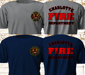 New-CHARLOTTE-Nort-Carolina-Fire-Department-FIREFIGHTER-Navy-Gray-T-Shirt-S-3XL