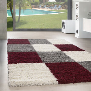 Design Tapis à Poils Longs Salon Shaggy Motif des Carreaux Rouge ...