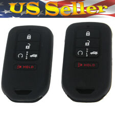 RUNZUIE Silicone Keyless Entry Remote Key Fob Cover Case Protector Fit for Honda Accord Civic CR-V Pilot 5 Buttons
