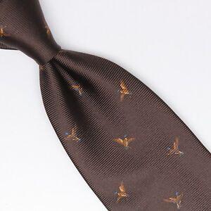 Gladson-Mens-Silk-Necktie-Dark-Brown-Flying-Duck-Waterfowl-Print-Italy-Tie